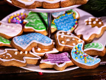 Colorful gingerbread Christmas cookies in Tiered Cookie Stand. Stock Photos