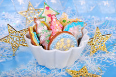 Colorful gingerbread cookies for christmas Stock Photography