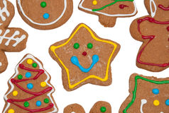 Colorful gingerbread cookies on white Royalty Free Stock Images