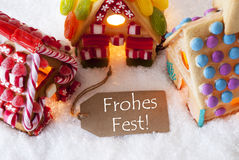 Colorful Gingerbread House, Snow, Frohes Fest Means Merry Christmas Stock Photography