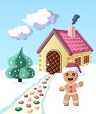 Colorful gingerbread man invintes to come to his house. Vector illustration with gingerbread man staying near his house and invinting to come in Stock Images