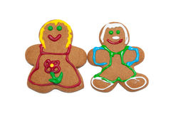 Colorful gingerbread man and woman Royalty Free Stock Photo