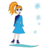 Colorful girl in beautiful blue dress on skates Royalty Free Stock Image