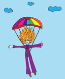 Colorful girl jumps with a parachute on a background clouds Royalty Free Stock Photo