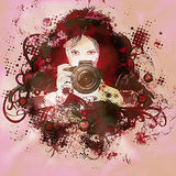 Colorful girl photographer illustration Royalty Free Stock Photo