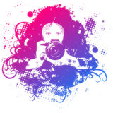 Colorful girl photographer illustration Stock Image