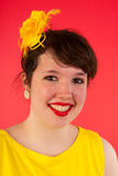 Colorful girl in red and yellow Royalty Free Stock Photo