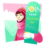 The colorful girl with snowboard. Vector illustration. Vector illustration of the colorful girl with snowboard on mountains background for your design Royalty Free Illustration