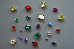 Glamour shiny stones sparkling jewelry glitters gems frame background. Colorful glamour shiny stones sparkling jewelry glitters gems frame background Royalty Free Stock Photography
