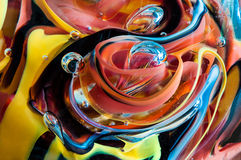 Colorful Glass. Lines and shapes formed by different colors blown into the glass Royalty Free Stock Photos