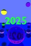 Colorful glass balls on reflective surface and the year 2025 vector illustration
