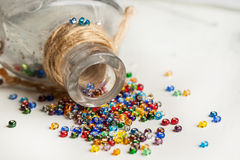 Colorful glass beads closeup Stock Images