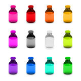 Colorful glass bottle set pantone pallete. Glass bottle colorful 12 Item Stock Photos