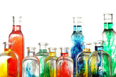 Colorful glass bottles Stock Photos