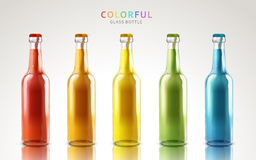 Colorful glass bottles. Colorful glass bottle models, can be used as design elements,  white background 3d illustration Royalty Free Stock Image