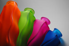 Colorful glass bottles, vases Royalty Free Stock Image