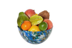 Colorful glass bowl of fruit Royalty Free Stock Images