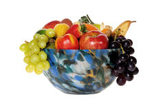 Colorful glass bowl with fruits Royalty Free Stock Image