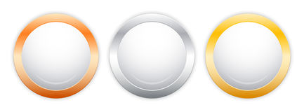 Colorful glass buttons with metal borders Stock Images