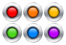 Colorful glass buttons with metal borders Stock Photos