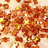 Colorful glass crosses. 3d illustration of pile orange and yellow crosses forming background Stock Photo