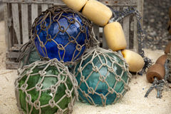 Colorful glass and foam fishing buoys Stock Photo