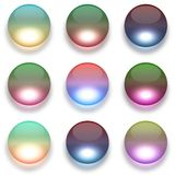 Colorful glass globes isolated on white. Illustration Royalty Free Stock Photos
