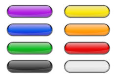 Colorful Glass Glossy Web Icon Button Set Stock Images