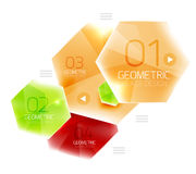 Colorful glass hexagon business infographic template Stock Images