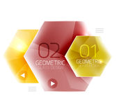 Colorful glass hexagon business infographic template. Hexagon geometric web interface element vector illustration