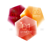 Colorful glass hexagon business infographic template. Hexagon geometric web interface element royalty free illustration