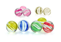 Colorful glass marbles isolated on white background Stock Image