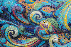 Colorful glass mosaic art shape fish. Stock Images