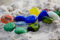 Colorful glass pebbles Stock Photo