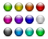 Colorful glass sphere buttons set. Vectir royalty free illustration