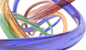 Colorful glass tubes. Blue, red, green and gold glass tubes bent in a random abstract fashion on a white background Stock Photos