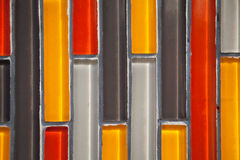 Colorful glass vertical rectangular tiled wall close-up pattern Royalty Free Stock Image