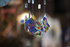 Colorful glass wind chime hanging Stock Photography