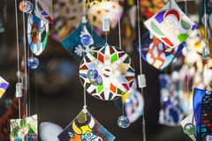 Colorful glass wind chime hanging Royalty Free Stock Photos