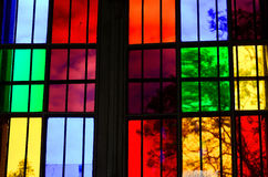 Colorful Glass window. S with grid in church royalty free stock images