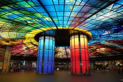 Colorful Glass Work Ceiling and Columns Stock Images