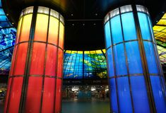 Colorful Glass Work Ceiling and Columns Royalty Free Stock Photo