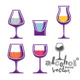 Colorful glasses collection – martini, wine, cognac, whiskey a Stock Images
