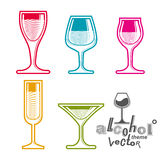 Colorful glasses collection – martini, wine, cognac, whiskey a Royalty Free Stock Photography