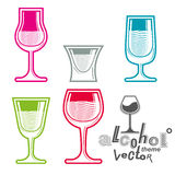 Colorful glasses collection – martini, wine, cognac, whiskey a Royalty Free Stock Photos