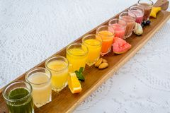 Colorful glasses of juices Royalty Free Stock Photography