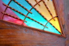 Colorful glasses in Latrun Trappist Monastery in Israel Stock Photo