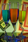 Colorful glasses of liqueur Royalty Free Stock Photos