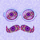 Colorful Glasses and Mustaches with Floral Pattern Royalty Free Stock Image