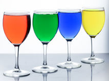 Colorful of glasses. Rainbow of glass Royalty Free Stock Photo